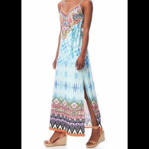 Peach Puff Printed Maxi Dress